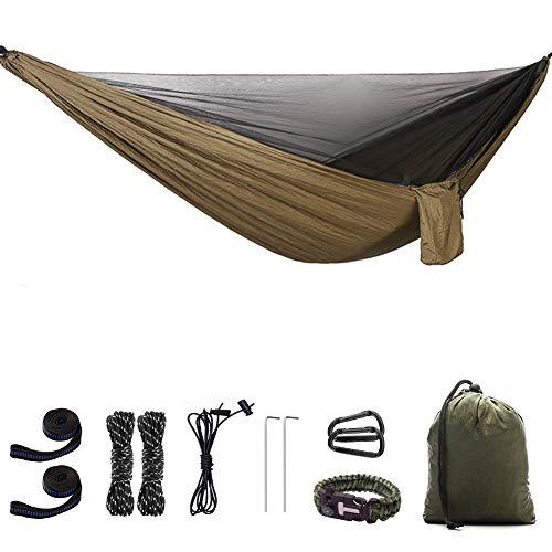 LiDCH Hamaca de camping con mosquitera ligera, fácil de montar, doble hamaca para colgar la cama, para exteriores, viajes, senderismo, playa, mochilero, patio, verde
