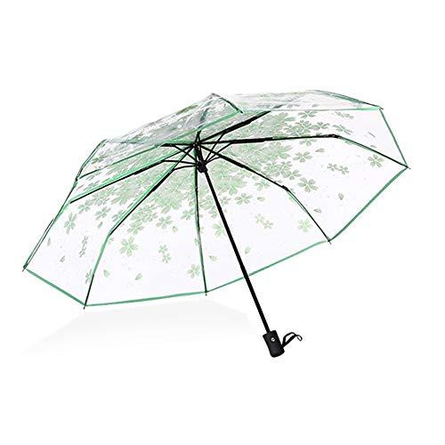 Paraguas Sakura Paraguas Plegable automático Transparente 3 Pliegues Paraguas de Viaje Impermeable romántico patrón de Flor de Cerezo Adecuado para Fotos (Verde)