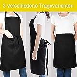 innotree 2 Stück wasserdichte Schürze, verstellbare Kochschürze mit 2 Taschen für Frauen Männer Chef, Bequeme Latzschürze Küchenschürze Grillschürze, Schwarz - 4
