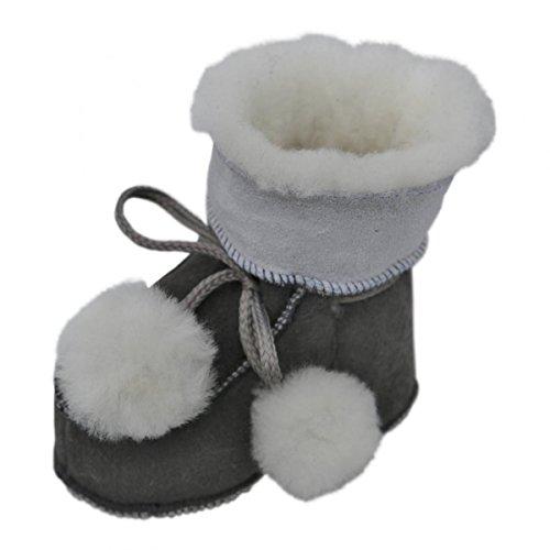 Hollert Leather Baby Lammfellschuhe Pummelchen Grau Krabbelschuhe Fellschuhe aus 100% Merino Schaffell Größe EUR 20/21