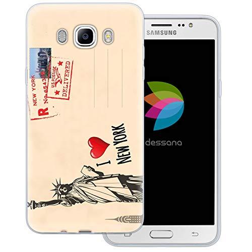 dessana postzegels transparante beschermhoes mobiele telefoon case cover tas voor Samsung Galaxy A J, Samsung Galaxy J7 (2016), Ansichtkaart New York