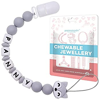 Personalized Pacifier Clip with Name Customized Pacifier Leash BPA Free Silicone Beads Paci Holder Suitable for Boy Girl Shower Universally Fit All Pacifiers - Glacier Grey