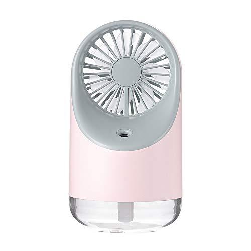 H-HX Tischventilator Multifunktions-USB-Lade Spray Luftbefeuchtung Desktop-Ventilator mit LED warm Gelb Leselampe, Support 3 Speed Control (Pink) (Color : Pink)