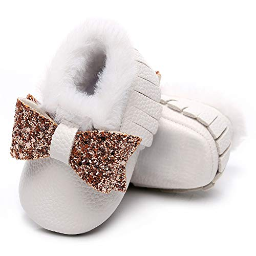 HONGTEYA Baby Moccasins with Warm Fur Fleece Infant Baby Girls Boys Cozy Moccasins Toddler Snow Winter Boots Soft PU Leather Ballet Dress Shoes for 0-24 Months Toddler(12-18 Months/5.11