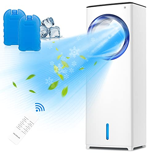 Mobile Klimaanlage, 3-in-1 System - Luftkühler, Luftbefeuchter, Ventilator, Blattloses Design, Tragbare Klimagerät, 3 Modi + 3 Geschwindigkeiten, 3,5L Großer Wassertank, Fernbedienung, 1/2/4/8H Timer