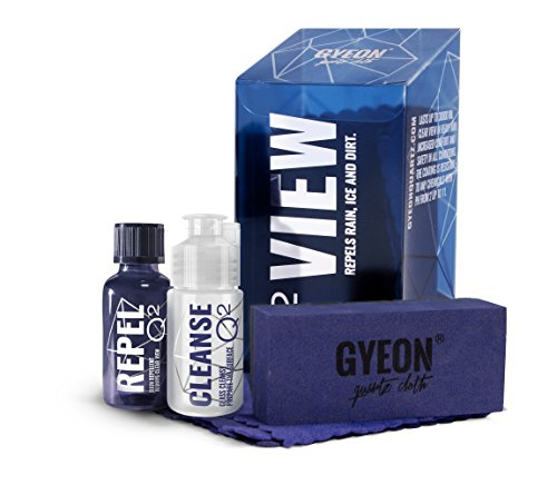 GYEON Quartz Q² View - Ceramic Coating for Glass - Increased Visibility - Extremely Hydrophobic - Ultra Hard 9H sio2 Ceramic Car Coating - Self Cleaning Repels Water and Contaminants - Ceramic Shine