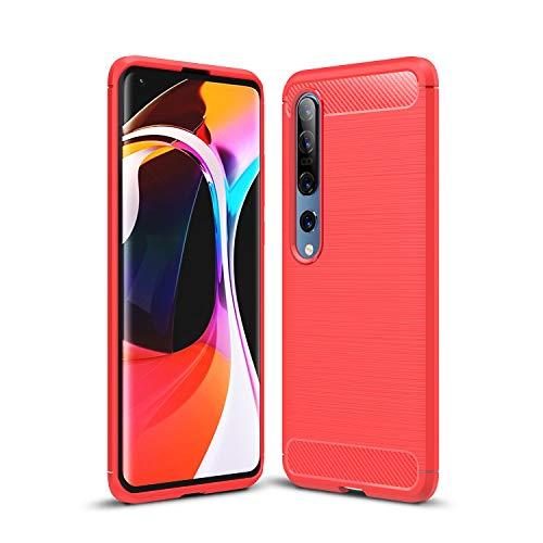 Cruzerlite Xiaomi Mi 10 hülle, Xiaomi Mi 10 Pro hülle, Carbon Fiber Texture Design Back Cover Anti-Scratch Shock Absorption Case Schutzhülle für Xiaomi Mi 10/10 Pro (Red)