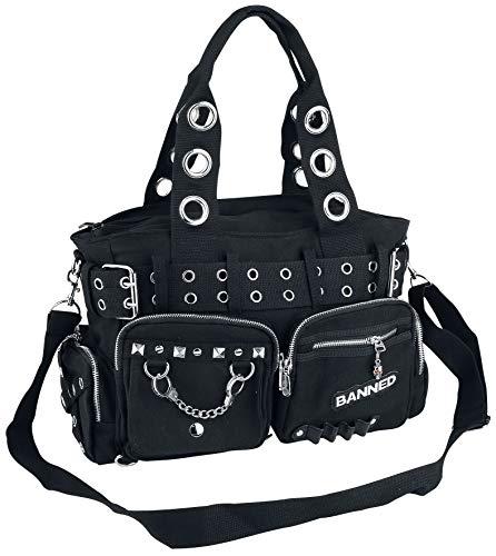 Banned Damen Handtasche mit Handschellen-Details, Rockabilly-Look, Leinwand, schwarz - schwarz - Größe: Large