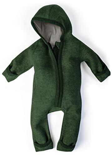 Ehrenkind® WALKOVERALL | Baby Wollwalk-Overalls aus Natur Schurwolle mit Reißverschluss | Walk Wolle Woll-Anzug für Kleinkind und Baby | Waldgrün Gr. 74/80