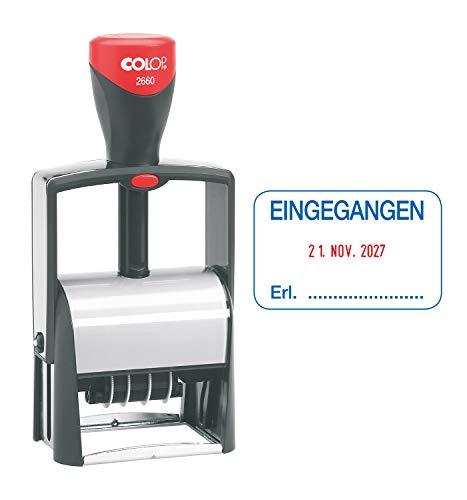COLOP 135867 2660 datumstempel met tekst INZONGEN datum Duits afdruk blauw/rood in doos