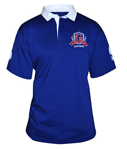 Guinness Men's Blue Short Sleeve Rugby Shirt with Red Logo (S)