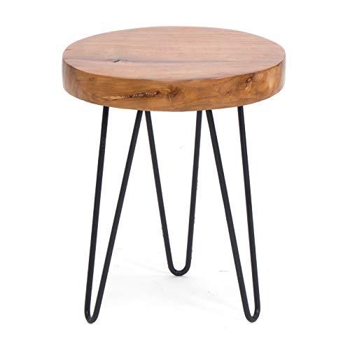BIJZETTAFEL Logmaster 35 | teakhout, massief, ijzer, 45x35 cm (HxØ) | rustieke houten tafel, natuurlijke decoratietafel
