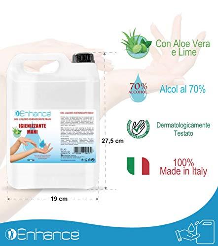 Gel igienizzante Enhance tanica Gel per le Mani ENHANCE 5L Alcool 70% per Dispenser Igienizzante Antibatterico Profumo Aloe Vera e lime Contro il 99% di Germi e Batteri 100% MADE IN ITALY.