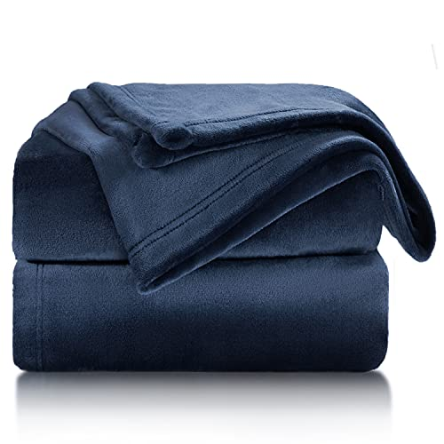 Bedsure Fleece Blanket Throw Size Navy Lightweight Super Soft Cozy Luxury Bed Blanket Microfiber