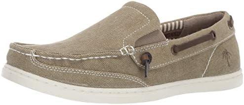Margaritaville Men s Dock Chambray Slip On Canvas Boat Shoe Vintage Khaki 10 Regular US product image