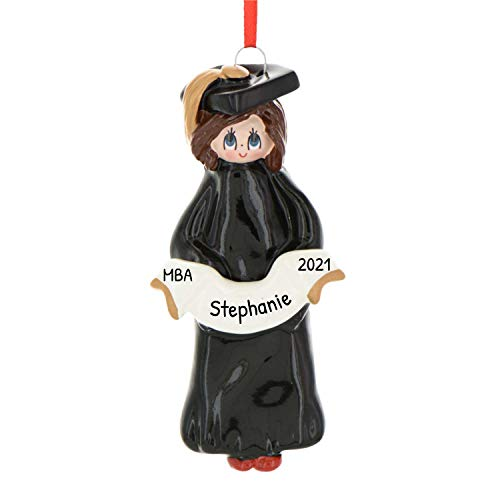 Personalized Graduate Girl Christmas Ornament for Tree 2018 - Brunette Woman in Dress with Ribbon College Under-graduation PhD Masters Degree New End Brown Hair - Free Customization by Elves (Female)