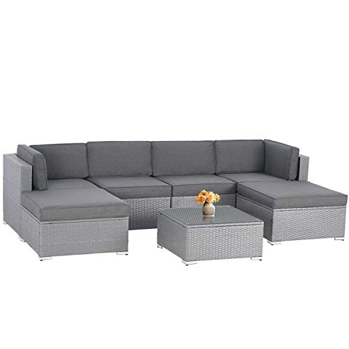 SOLAURA Outdoor Furniture 7-Piece Patio Sofa Modular Sectional Gray Wicker Conversation Set with Ottoman & Coffee Table,Grey