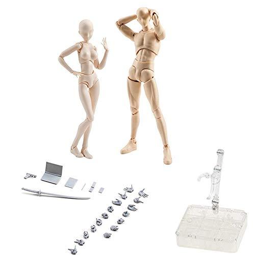 Keisl Mannequin Mannequin Mannequin, Malmuster, Puppe, Chan Körper & Kun männlich, weiblich, PVC, Miniaturmodell für Geschenke SHF 18 x 18 x 3,5 cm Female+male gelb