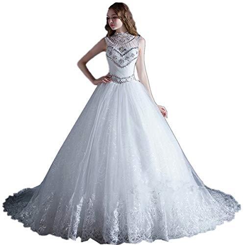 Fankeshi Wunderschönes hochgeschlossenes Brautkleid mit Kristallperlen, Tüll, A-Linie, Ballkleid mit Schleppe - elfenbein - 50