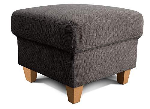 Cavadore Hocker Finja / Polsterhocker im Landhausstil / Fußbank für's Wohnzimmer passend zum Sessel Finja / 59 x 47 x 59 / Webstoff Dunkelgrau
