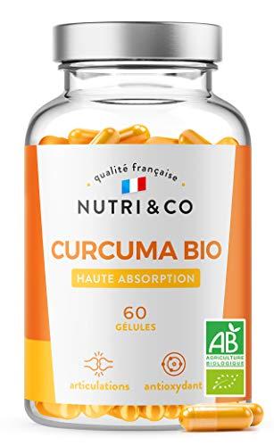 Curcuma BIO Breveté en Gélules | Garanti sans Pipérine ni Poivre Noir | Curcumine Haute Absorption x45 via Etudes Cliniques | 60 Capsules Vegan Made in France | Nutri&Co