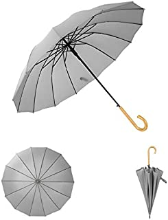 Auto Open Straight Long Solid Color Umbrella with 16 Ribs - Durable and Portable - Wooden Handle (Grey)
