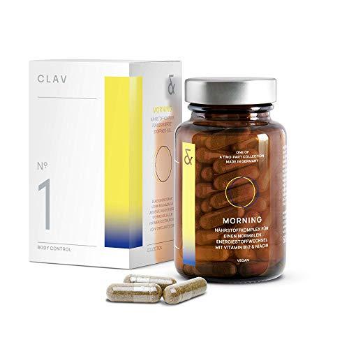 CLAV N°1 MORNING | Stoffwechsel-Komplex | mit Carnipure + Grüntee Extrakt + Guarana + Vitamin B12 | bei Keto Diät | 60 Kapseln Vegan