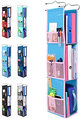 3 Shelf Hanging Locker Organizer for School, Gym, Work, Storage - Upgraded   Abra Company   Eco-Friendly Fabric Healthy for Children   Adjustable School Locker Shelf from 3 to 2 Shelves (Blue/Pink)