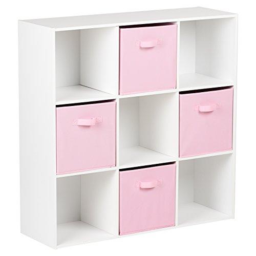 Hartleys Mobile Bianca con 9 cubi e 4 cassetti Rosa