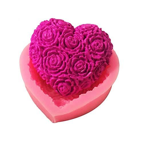 Belle Coeur Rose Fleur Silicone Savon Moule DIY Fondant Forme De Gâteau Savon Faire Des Fournitures 3d À La Main Décoration Moule Outils