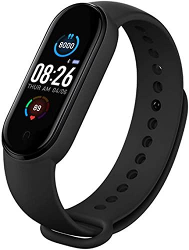 M5 Smart Watch Fitness Tracker Sport Band Bluetooth Smartband Pulseras podómetro USB recargable pantalla a color ritmo cardíaco monitor de presión arterial para hombre/mujer (M5 negro)