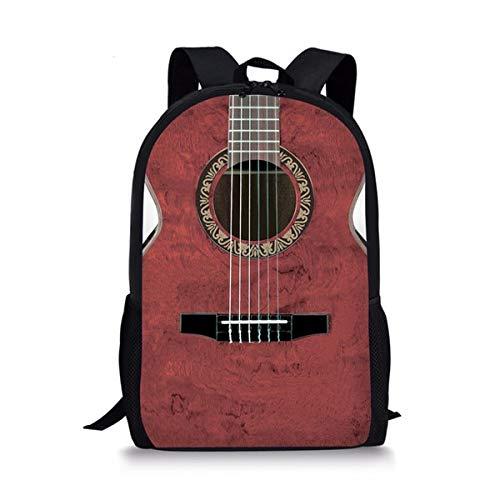 Mochila Escolar Personalizada para niñas pequeñas Mochila para niños pequeños Patrón de Guitarra Mochila Primaria para niños 16 Pulgadas 44 * 28 * 13 cm B
