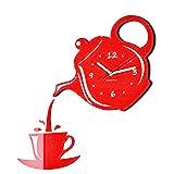 FLEXISTYLE Moderno Reloj de Pared para la Cocina Taza y Tetera Rojo, 45 cm x 45 cm, 3D, silencioso, diseño
