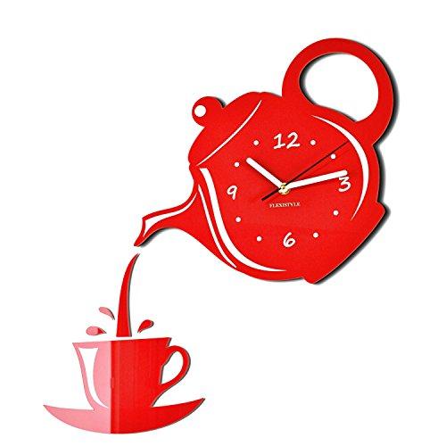 FLEXISTYLE Horloge Murale Moderne pour la Cuisine et Le pichet Rouge, 45 x 45 cm, Design Silencieux et fabriqué en UE