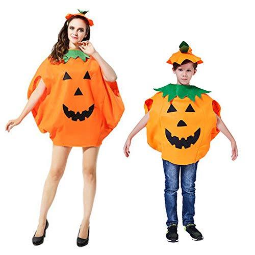 Lifreer Disfraz de calabaza de Halloween para mujer, vestido de calabaza para adultos y niños, disfraz de calabaza, fiesta de cosplay con sombrero.