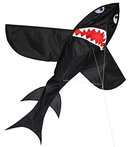 ZHONGRAN Riesiger 3D-Haifisch-Kinderdrachen, leicht zu fliegen, Ripstop-Stoff, einreihig, Drache mit fliegender Schnur, für Strand, Park, Garten und Familie, Outdoor-Spielzeug