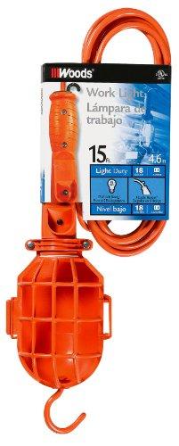 Woods 18/2-Gauge SJTW Trouble Light with Plastic Guard, Orange
