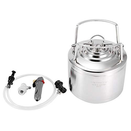 Beer Keg, 6L, 10L, 12L Kit de dispensador de sistema de barril de cerveza de acero inoxidable Kit de grifo de barril de cerveza con grifo de manguera para almacenamiento de cerveza(6L)