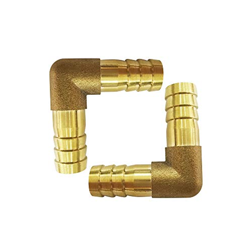 Metalwork Brass Hose Barb Fitting 90 Degree L Right Angle Elbow Barbed 16mm 5/8' Hose ID, Fuel/Air/Water/Boat/Gas/Oil WOG(Pack of 2)