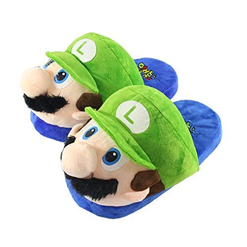 ANMOGUN Zapatillas Casa Divertidas Super Mario Pantuflas Peluche Hombres Mujeres Anime japonés Pantuflas de algodón Invierno Slippers Interior Ocio Calidez Zapatos de Piso-Green_35-42 (280mm)