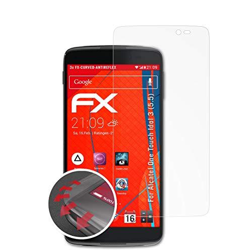atFolix Schutzfolie kompatibel mit Alcatel One Touch Idol 3 (5.5) Folie, entspiegelnde & Flexible FX Bildschirmschutzfolie (3X)