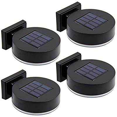 MAGGIFT 12 LEDs Solar Fence Lights Wall Mount, 10 Lumen Solar Deck Lights Solar Porch Lights Wall Sconce Warm White Lights for Outdoor, Steps, Yard, Garden, Garage, Patio, Driveway, 4 Pack