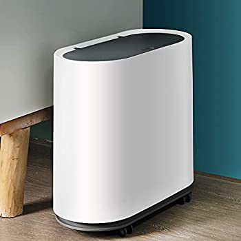 Trash Can with Lid 2.4 Gallon Plastic Rectangular Slim Wastebasket with Wheels Double Barrel Garbage Container Bin for Bathroom Bedroom Kitchen Office White