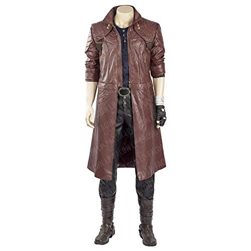 Mens Dante Cosplay Costume Maroon PU Leather Coat Jacket for DMC Devil May Cry 5 Outerwear