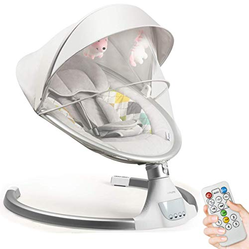 COSTWAY Electric Baby Bouncer Chair with Remote Control, Removable Mosquito Net, 5 Swing Amplitudes & 3-Stage Timing Function, Wireless Bluetooth USB Music Rocking Bed for Newborn Infant (Beige)