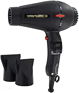 Pibbs TTEC8012 Twin Turbo 3800 Professional Ionic and Ceramic Hair Dryer, Black, 2100 Watt