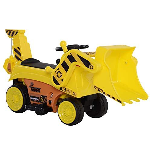 homcom Ruspa Elettrica Giocattolo per Bambini da Guidare e Completamente Controllabile con Clacson, Cintura di Sicurezza e Pala Controllabile, Escavatore Giocattolo