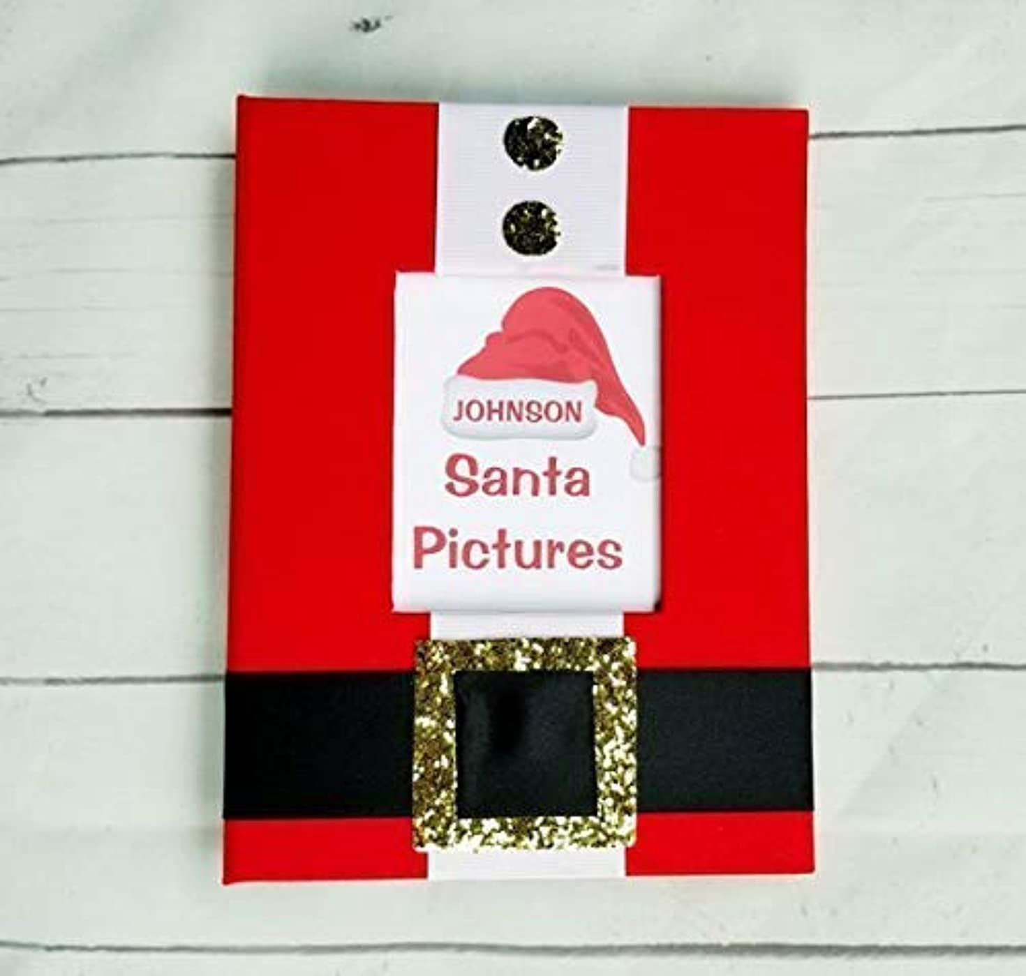 Custom Santa Pictures 5x7 Photo Book - Brag Book Album Gift Present Grandparents Christmas Memories Every Year Kids Children Yearly Xmas Visit Red
