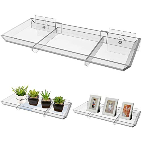 NIUXX Window Floating Plant Shelf, 11 Inch Acrylic Plant Tray with Strong Sticky Hooks for Succulent Planter Pots, Wall Storage Shelves Display Racks Home Decor for Bedroom, Kitchen, Office