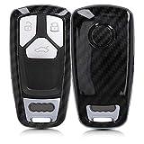 kwmobile Accessoire Clé de Voiture Compatible avec Audi Smartkey (Keyless Go Uniquement) 3-Bouton - Coque de Protection en Plastique Rigide Carbone Noir